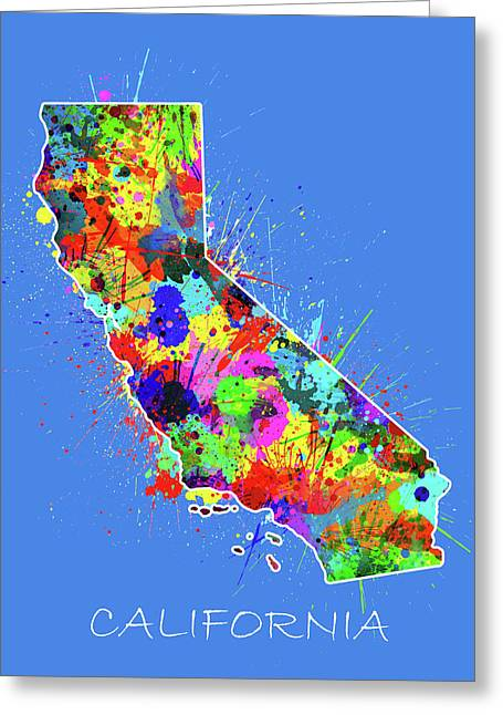 California Map Color Splatter 3 Greeting Card