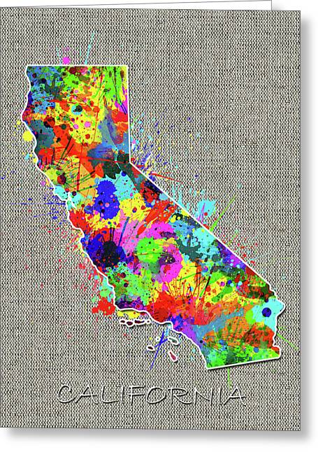California Map Color Splatter 4 Greeting Card