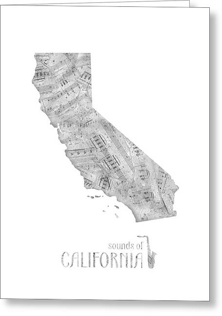 California Map Music Notes Greeting Card