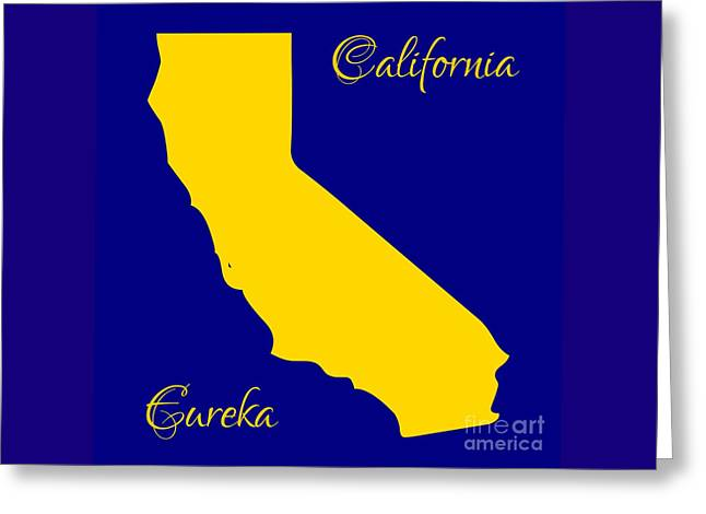 California Map With State Colors And Motto Greeting Card by Rose Santuci-Sofranko