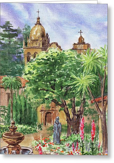 California Mission Carmel Basilica Greeting Card