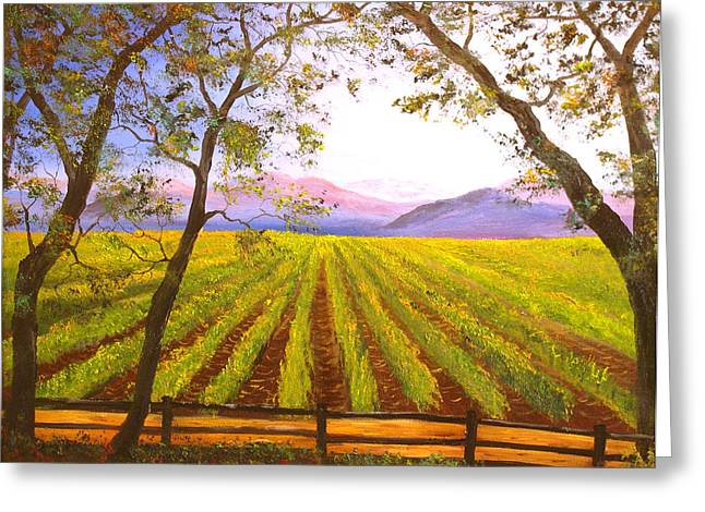 California Napa Valley Vineyard Greeting Card by Connie Tom