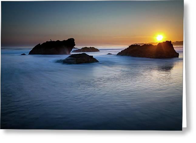 California Ocean Sunset Greeting Card
