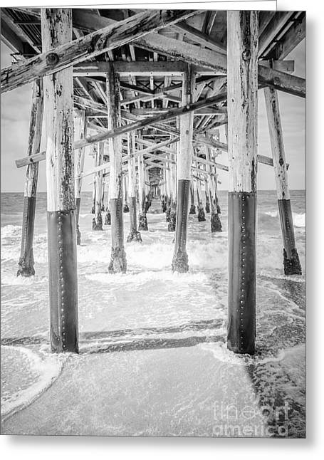California Pier Black And White Picture Greeting Card by Paul Velgos