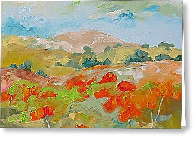 California Poppies Greeting Card by Linda Monfort