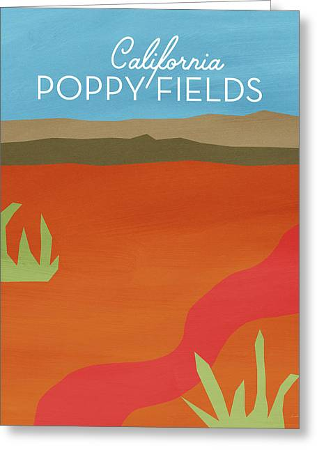 California Poppy Fields- Art By Linda Woods Greeting Card by Linda Woods