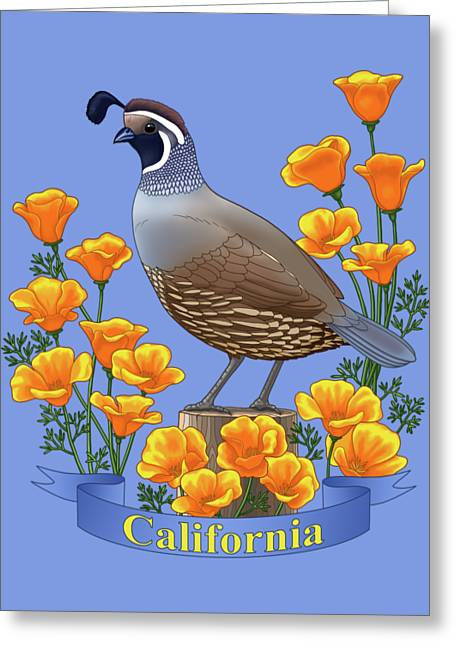 California Quail And Golden Poppies Greeting Card