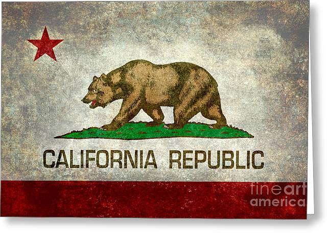 California Republic State Flag Retro Style Greeting Card by Bruce Stanfield