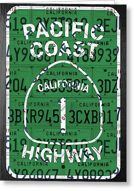 California Route 1 Pacific Coast Highway Sign Recycled Vintage License Plate Art Greeting Card by Design Turnpike