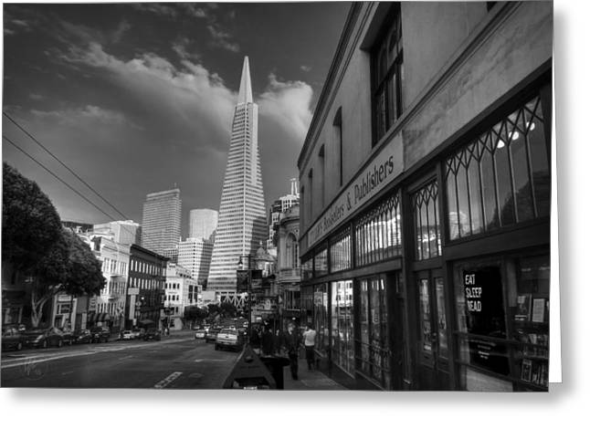 Greeting Card featuring the photograph California - San Francisco 009 Bw by Lance Vaughn