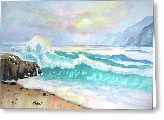 California Seascape At Sunset Greeting Card by Carlin Blahnik