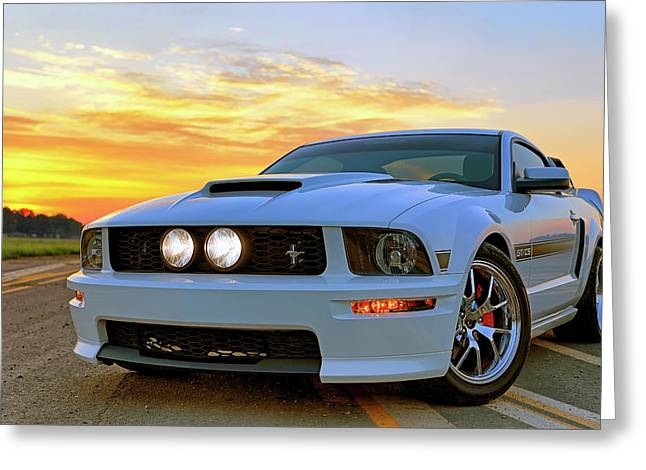 Greeting Card featuring the photograph California Special Sunrise - Mustang - American Muscle Car by Jason Politte