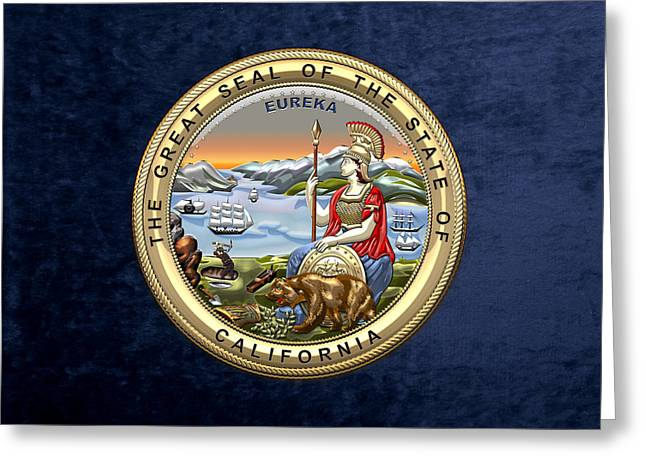 California State Seal Over Blue Velvet Greeting Card by Serge Averbukh