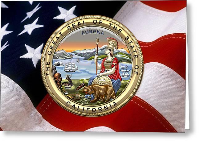 California State Seal Over U.s. Flag Greeting Card by Serge Averbukh