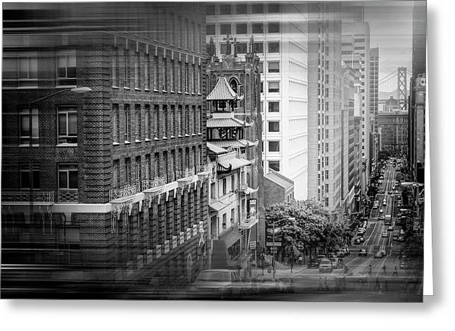 California Street San Francisco In Black And White  Greeting Card