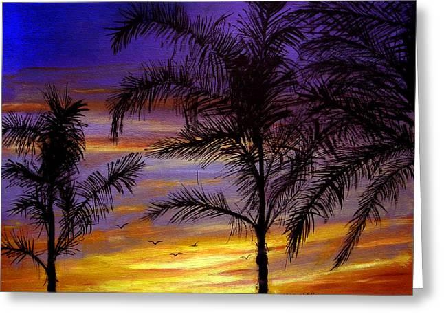 California Sunset Greeting Card by Olga Kaczmar