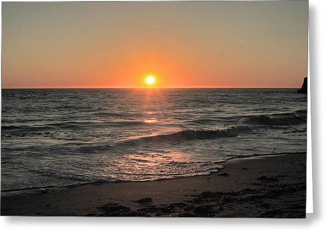 California Sunset Pacific Ocean Davenport  Greeting Card by Larry Darnell