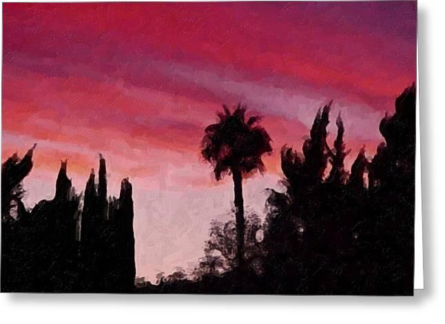 California Sunset Painting 1 Greeting Card by Teresa Mucha