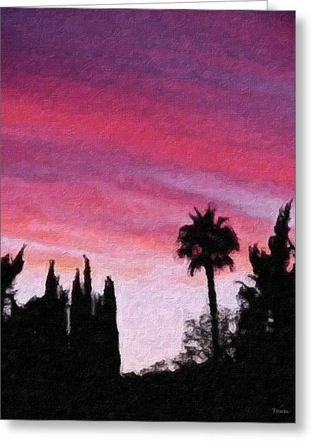 California Sunset Painting 2 Greeting Card by Teresa Mucha