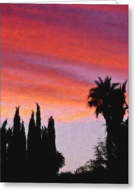 California Sunset Painting 3 Greeting Card by Teresa Mucha