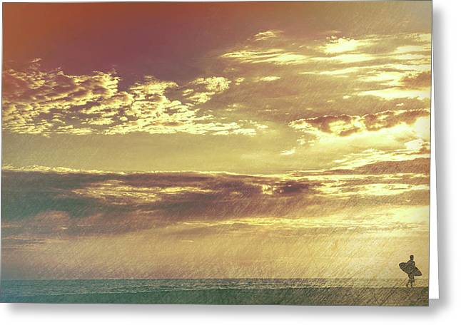 California Sunset Surfer Greeting Card