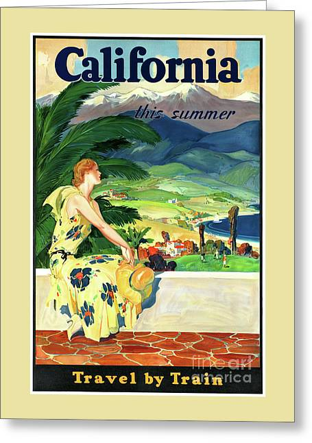 California This Summer Restored Vintage Poster Greeting Card by Carsten Reisinger