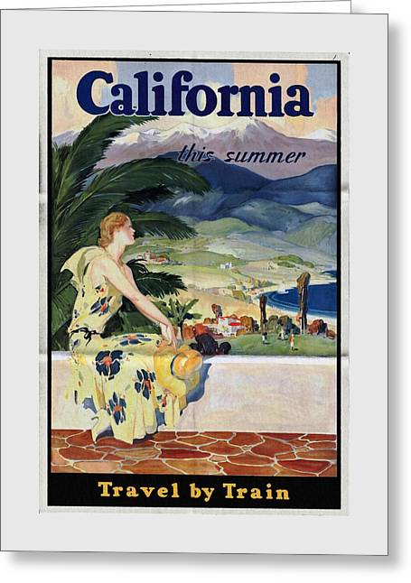 California This Summer - Travel By Train - Vintage Poster Folded Greeting Card
