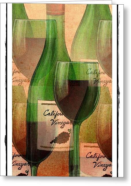 California Vineyard Wine Bottle And Glass Greeting Card by Terry Mulligan
