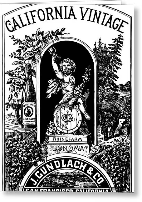 California Vintage Wine Label 1889 Greeting Card