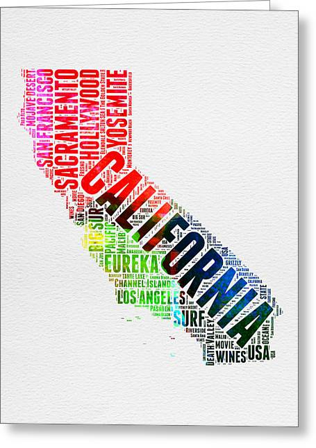 California Watercolor Word Map Greeting Card by Naxart Studio