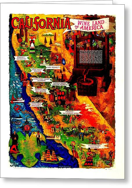 California Wine Board 1950s Wine Land Of America Number 2 Greeting Card