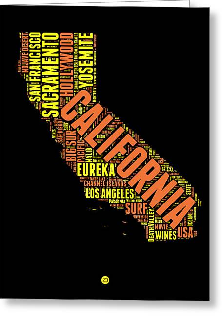 California Word Cloud Map 1 Greeting Card by Naxart Studio