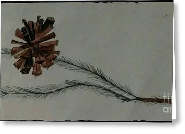 Caligarphy Pine Cone Greeting Card
