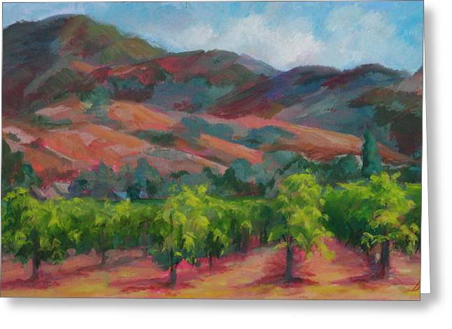 Calistoga Vineyards  Greeting Card by Deirdre Shibano