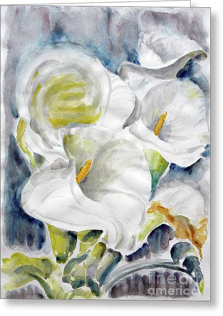 Greeting Card featuring the painting Calla by Jasna Dragun