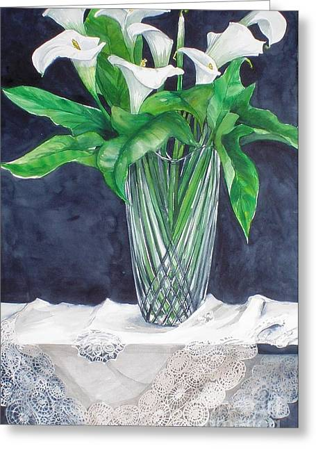 Calla Lilies And Lace Greeting Card