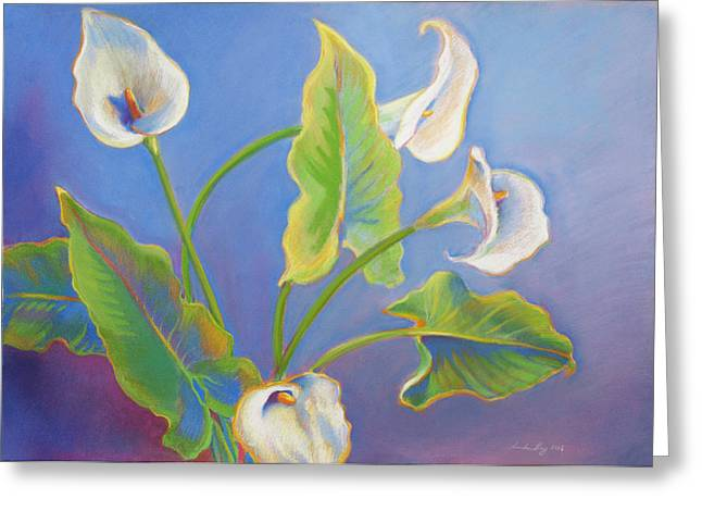 Calla Lilies Greeting Card by Linda Ruiz-Lozito
