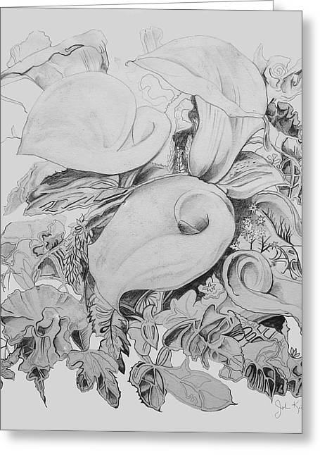 Calla Lillies In Black And White Greeting Card by John Keaton