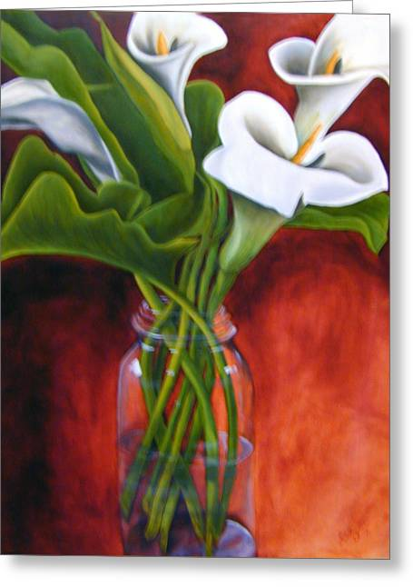 Calla Lilly On Red Greeting Card