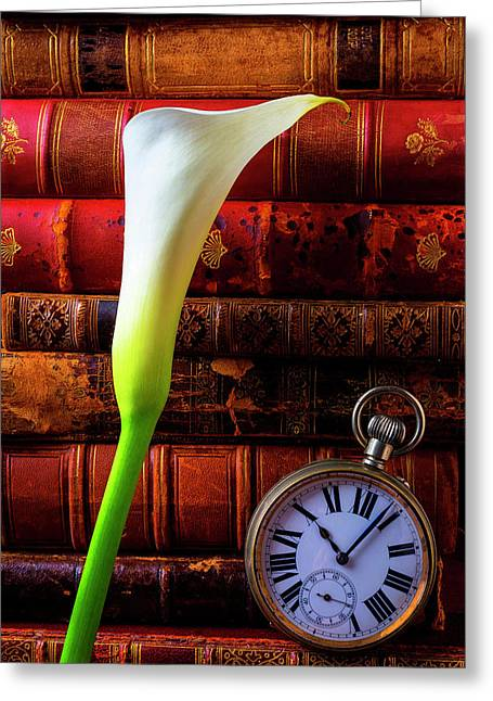 Calla Lily And Pocket Watch Greeting Card by Garry Gay