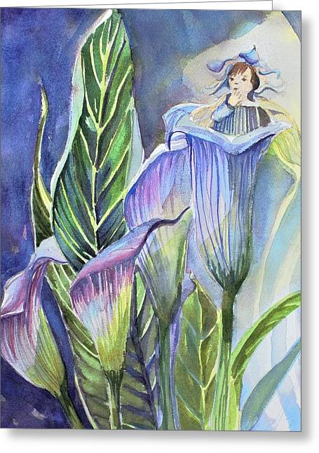 Calla Lily Fairy Greeting Card by Mindy Newman