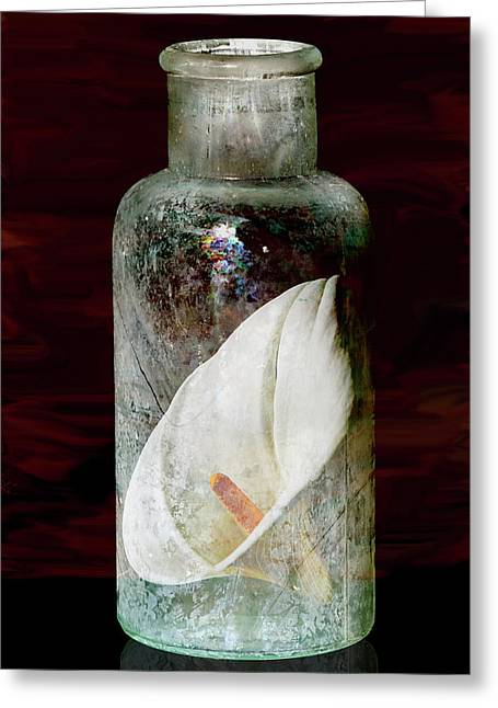 Greeting Card featuring the photograph Calla Lily In A Bottle by Phyllis Denton