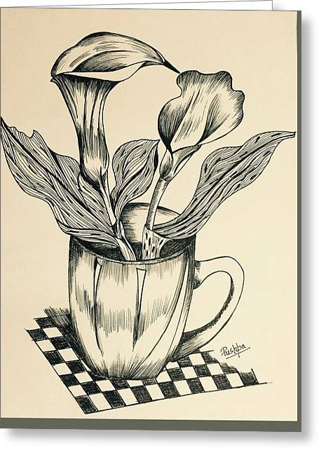 Calla Lily In A Cup Greeting Card by Pushpa Sharma