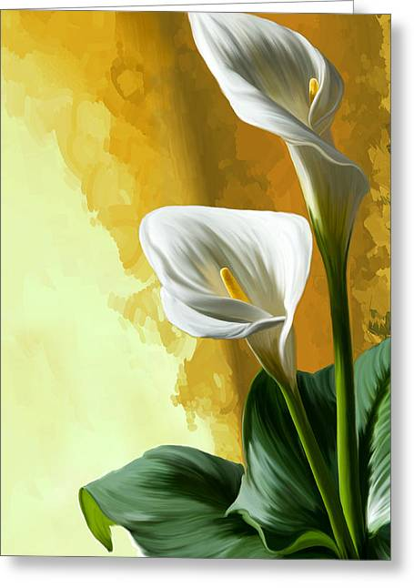 Calla Lily Digital Greeting Cards - Calla lily Greeting Card by Thanh Thuy Nguyen
