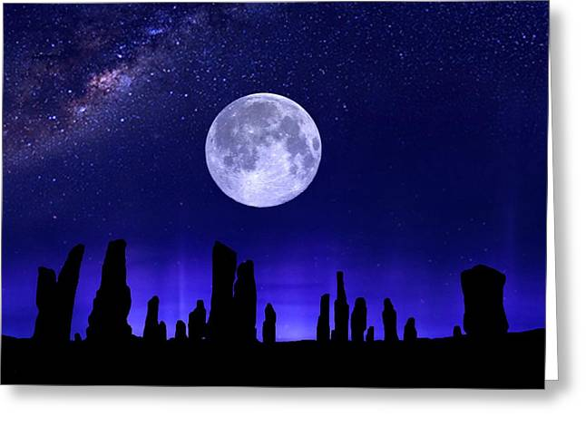 Callanish Stones Under The Supermoon.  Greeting Card