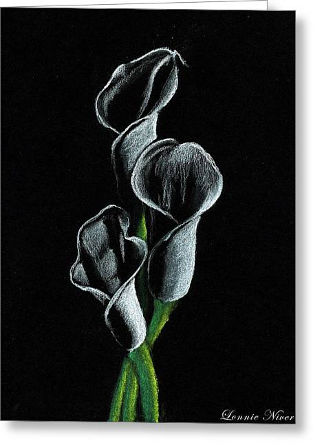 Callas Lilies Greeting Card by Lonnie Niver