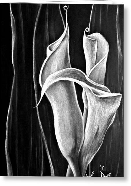 Callas Lilies Trio Greeting Card by Lonnie Niver