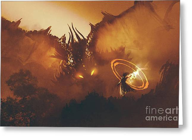 Calling Of The Dragon Greeting Card