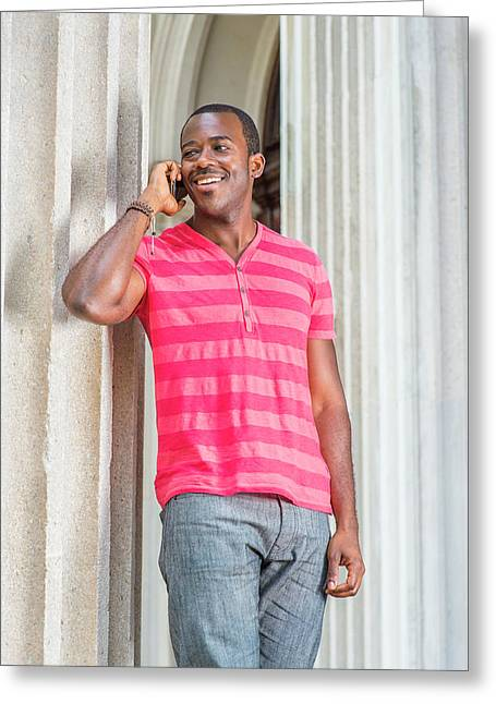 Man Calling Outside Greeting Card