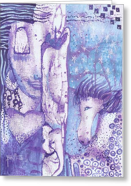 Greeting Card featuring the mixed media Calling Upon Spirit Animals by Prerna Poojara
